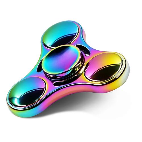 Finger Spinner, Luscreal Tri-Fidget Hand Spinner Toy Made of Zinc Alloy with Durable Carbon steel Bearing, Rainbow Spinner Perfectly fit for EDC ADHD Focus Anxiety Stress Relief Boredom Killing Time $9.99